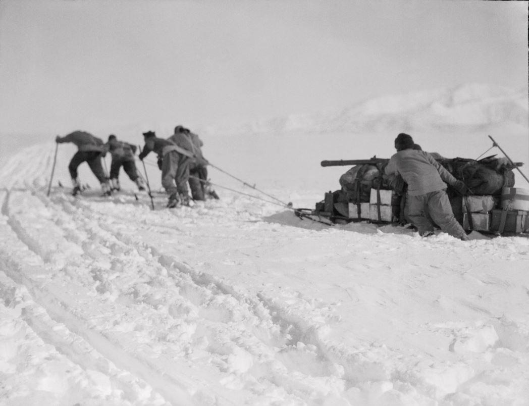 Man-hauling a heavily loaded sledge