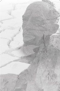 Mawson statue superimposed on crevasse photo